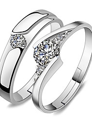 Ring Wedding Party Special Occasion Jewelry Platinum Plated Couple Rings 1 pair Adjustable Silver