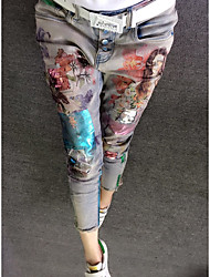 Women's Embroidery European Grand Prix  spring models beautiful gold foil printing Slim stretch jeans feet Spot