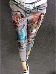 Femme Broderie grand prix européen de nouveaux modèles de printemps belle or jean impression feuille stretch mince pieds tache
