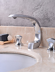 Contemporary Widespread Clawfoot with  Ceramic Valve Three Handles Three Holes for  Chrome , Bathroom Sink Faucet