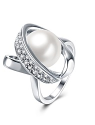 Ring Special Occasion Daily Casual Jewelry Alloy Imitation Pearl Zircon Silver Plated Ring 1pc,7 8 Silver