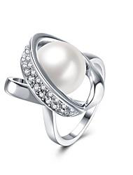 Ringe Besondere Anlässe Alltag Normal Schmuck Aleación Künstliche Perle Zirkon versilbert Ring 1 Stück,7 8 Silber