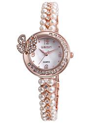 Femme Montre Bracelet Bracelet de Montre Quartz Imitation de diamant Alliage Bande Perles Elégantes Blanc Or Rose