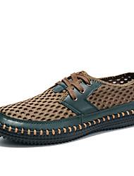 Hombre-Tacón Plano-Confort Suelas con luz-Zapatillas de deporte-Exterior Oficina y Trabajo Informal-Tul-Azul Negro Gris Oscuro