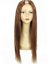 cor # 6 cabelo humano u parte peruca de cabelo brasileiro upart perucas 20inch densidade de 130% 1 * 4inch parte do meio u em forma