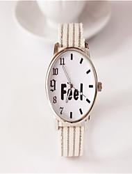 Fashion Watch Quartz Leather Band Charm Casual Word Watch White Grey