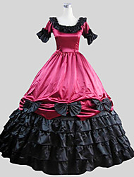 One-Piece/Dress Gothic Lolita Victorian Cosplay Lolita Dress Solid Bell Short Sleeve Long Length Dress Petticoat For Charmeuse