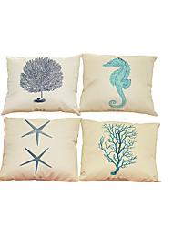 """набор из 4 созданных морскими существами шаблона обложки для постельного белья креативного декора (18 """"* 18"""")"""