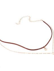 Choker Necklaces Imitation Pearl Rhinestone Pearl Imitation Pearl Rhinestone Fabric Simulated Diamond Alloy JewelryDangling Style