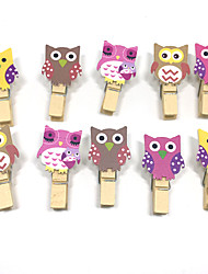 10 Pcs 4cm Owl Animal Wooden Mini Clip Wood Pegs Kids Crafts Party Favor Supply DIY Wedding Decoration Baby Shower Photo Clips