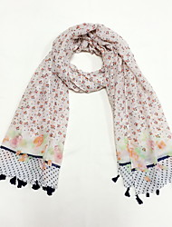 High Quality Women Acrylic Cotton ScarfCute Party Work Casual Rectangle Print