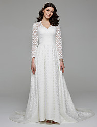 Lanting Bride® A-line Wedding Dress Simply Sublime Sweep / Brush Train V-neck Dot Lace with Lace