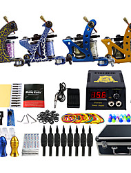Complete Tattoo Kit 4 Pro Machine Power Supply Foot Pedal Needles Grips TK453