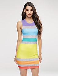 Women's Sports Sexy / Simple Bodycon Dress,Striped Round Neck Mini Sleeveless Multi-color Polyester All Seasons