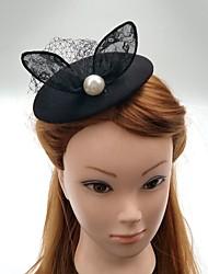 Femme Perle Tissu Filet Casque-Mariage Occasion spéciale Coiffure Chapeau Voile de cage à oiseaux 1 Pièce