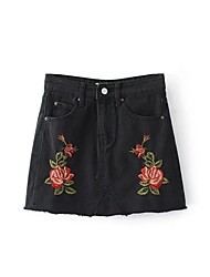 Women's Mid Rise Above Knee Skirts,Cute Street chic A Line Bodycon Denim Solid Floral Print