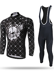 XINTOWN Cycling Jersey with Tights Men's Long Sleeves Bike Pants/Trousers/Overtrousers Tracksuit Zip Top Jersey Bib Tights Tops Moisture