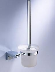Toilet Brush & Holder Set / PolishedBrass Glass Plastic /Contemporary