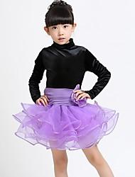 Latin Dance Dresses Children's Performance Spandex Organza Tassel(s) 1 Piece Long Sleeve Natural Dress