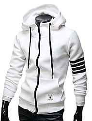 Men's Casual/Daily Hoodie 3D Print Striped U Neck Micro-elastic Cotton Faux Fur Long Sleeve Spring