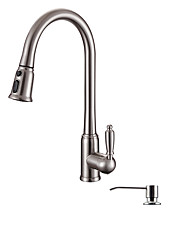 Contemporary Art Deco/Retro Modern Pull-out/Pull-down Vessel Widespread Handshower Included with  Ceramic Valve Single Handle One Hole Kitchen Faucet