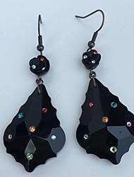 Forma de Hoja Pendientes colgantes Pendients de aro Pendientes Set Joyas Diseño Básico Fiesta Diario Brillante 1 par Negro