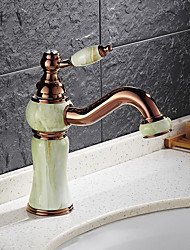 Contemporary Brass Rose Gold Imitation Jade Bathroom Sink Faucet