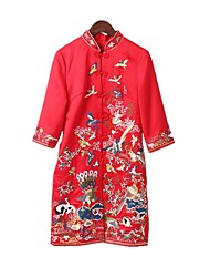 Women's Going out Vintage A Line Dress,Embroidered Stand Knee-length ¾ Sleeve Silk Spring Low Rise Micro-elastic Medium