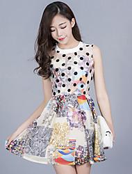 assinar primavera e verão novos saia de organza fina sem mangas impresso mulheres vestido colete fino coreano