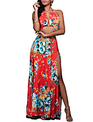 Women's Going out Simple Swing Dress,Floral Halter Maxi Sleeveless Polyester Summer Mid Rise Inelastic Medium