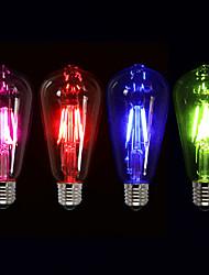 4W E26/E27 Ampoules à Filament LED ST64 4 COB 400 lm Vert Rose Rouge Bleu Gradable Décorative AC 100-240 V 1 pièce