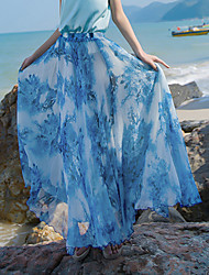 Swing Floral Skirts,Beach Holiday Boho Mid Rise Maxi Elasticity Polyester Inelastic Spring Summer