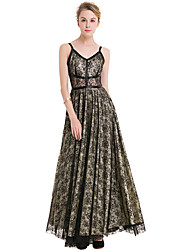 SUOQI Women's Lace Fashion Wild Strap Sleeveless Sexy Slim Hit Color Big Swing Long Skirt Party Party Holiday Leisure Dress