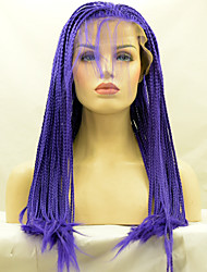 Hot Selling Braided Synthetic Lace Front Wig Blue Color Synthetic Fiber Hair Wigs For Fashion Woman