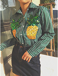 Sign # Korean chic wild wind vertical striped shirt embroidered pineapple
