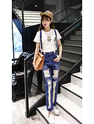Signer la taille neuf points était mince denim ensembles féminins koréen marseillais étudiants bretelles pantalons neuf points