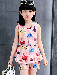 Girls' Casual/Daily Print Sets,Polyester Summer Sleeveless Clothing Set