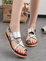 Sandals Summer PU Outdoor Casual Flat Heel Beading
