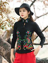 Damen Blumen Chinoiserie Lässig/Alltäglich T-shirt,Quadratischer Ausschnitt Frühling Langarm Baumwolle Mittel