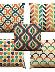 Set of 5 Geometric Lattice Pattern  Linen Pillowcase Sofa Home Decor Cushion Cover (18*18inch)
