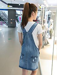 signe 2016 été Institut coréen de vent était mince femme lâche robe de sangle robe bracelet en denim
