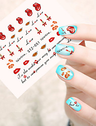 10pcs/set Fashion Design Nail Art Sticker Lovely Lipstick Nail Water Transfer Decals Nail Beauty DIY Decals STZ-051