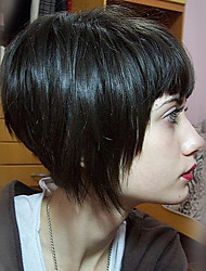 Short Classy Bob Straight Black Capless Cap Human Hair Wig With Bang For Women 2017