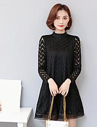 Sign corrugated long-sleeved dress Korean Slim bottoming loose