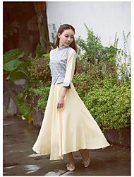 Women's Going out Vintage Two Piece Dress,Solid Stand Midi ¾ Sleeve Rayon Spring Low Rise Inelastic Thin