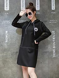 European Grand Prix 2017 spring new women's European goods long sleeve hooded hedging sweater dress long section