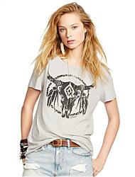 Ebay aliexpress hot verão novo feminino de mangas curtas t-shirt impressão chifre padrão em torno do pescoço t-shirt mulheres