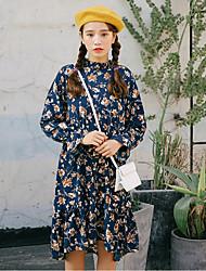 Spring 2017 women's new wave of Korean female long-sleeved floral dress waist long section flounced skirt