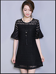 Sign 2017 summer new large size women long section was thin lace dress lotus sleeve short sleeve
