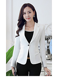 Women's Casual/Daily Work Sophisticated Spring Fall Jacket,Solid V Neck Long Sleeve Short Rayon